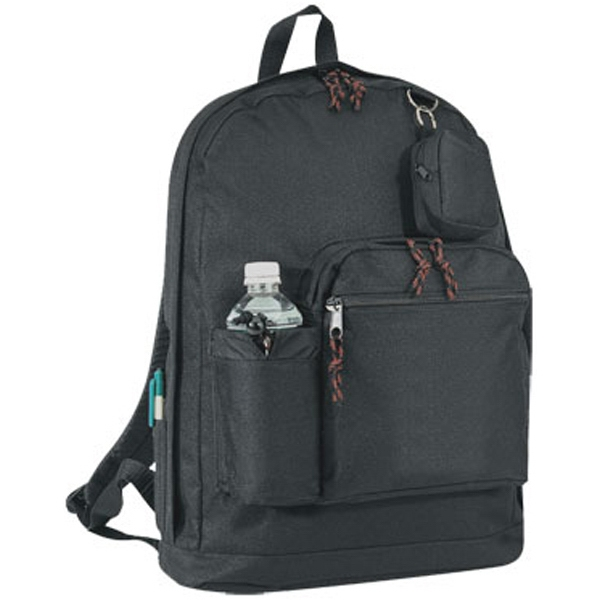 Polyester backpack with bottle holder and coin pouch