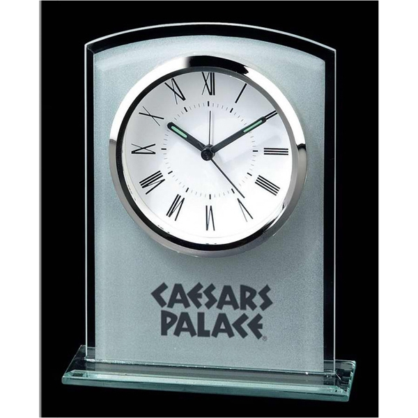 Rectangle Shape Glass Alarm Clock With Curved Top Photo