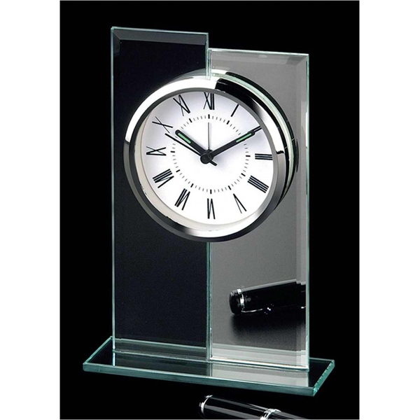 Glass And Mirror Alarm Clock With Base, Roman Numerals And Second Hand Photo