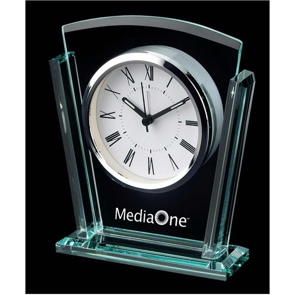 Trapezoid Shape Glass Alarm Clock With Roman Numerals Photo