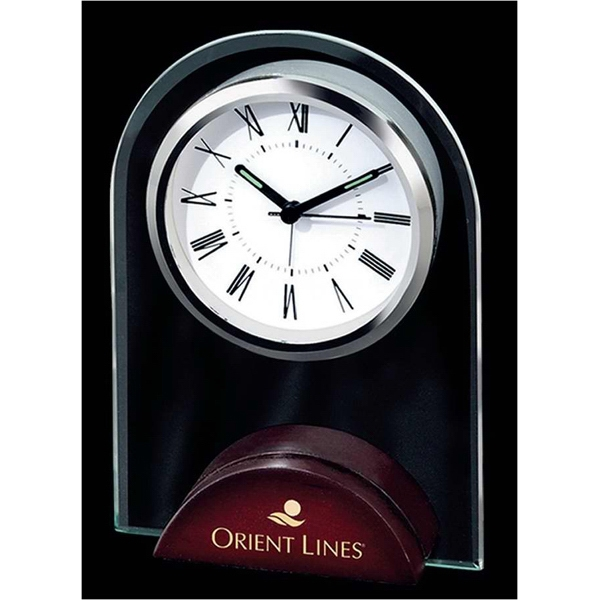 Arch Shape Alarm Clock With Wooden Base And Roman Numerals Photo