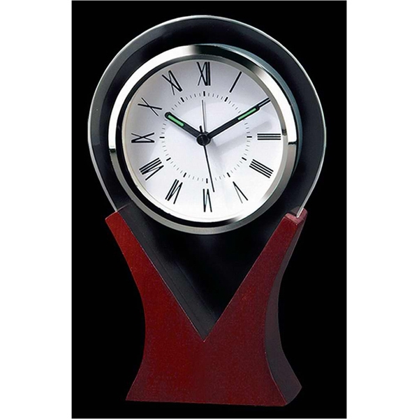 Water Drop Shaped Glass Desktop Alarm Clock With Wooden Base And Roman Numerals Photo