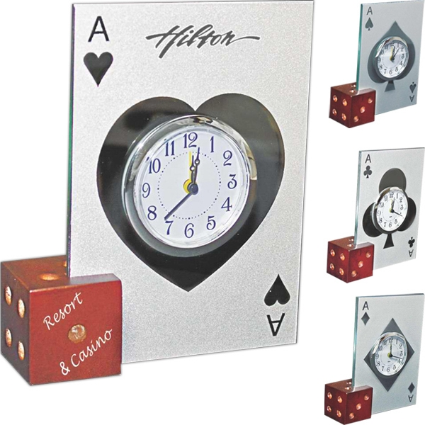 Glass Casino Alarm Clock With Wooden Dice Base Photo