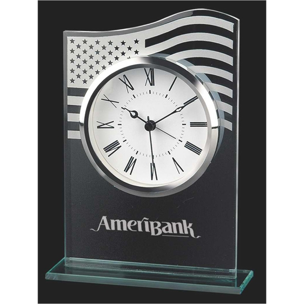 Glass Alarm Clock With U.s. Flag Design And Roman Numerals Photo