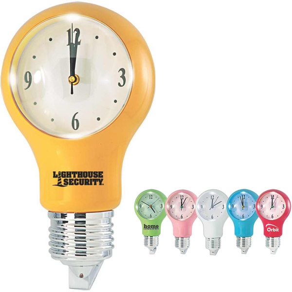 Light Bulb Shaped Wall Clock With Auto Light Sensor Photo
