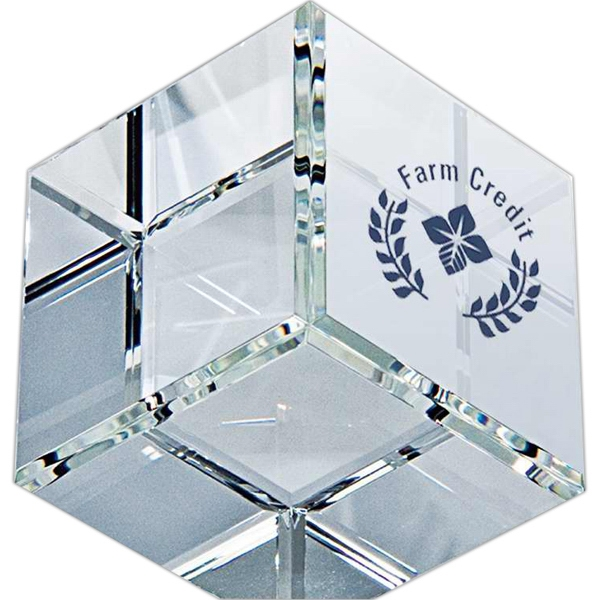 Standing Crystal Cube Paperweight Photo