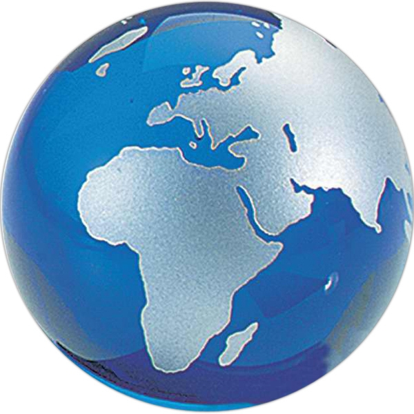 Blue Glass Globe Paperweight Photo
