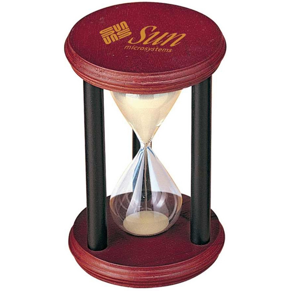 Miniature Wooden Sand Timer With Cherry Wood Finish Photo