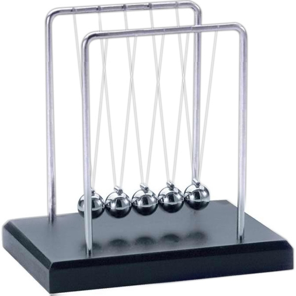 Small Newton's Cradle With Wood Base Photo