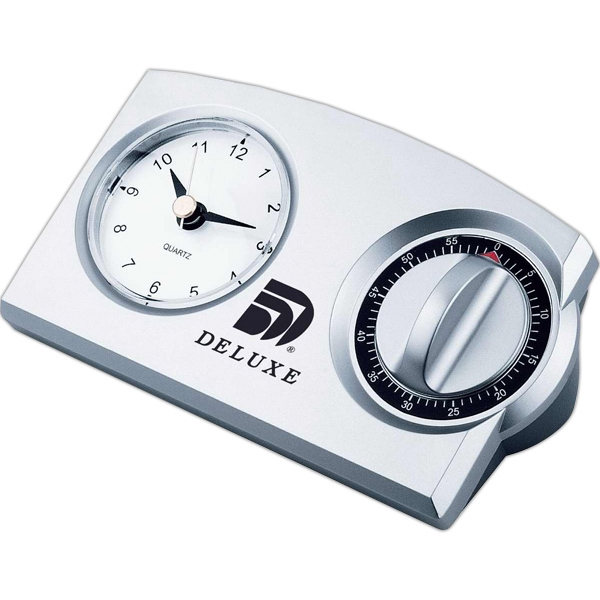 Analog Clock And 60 Minutes Mechanical Timer Photo