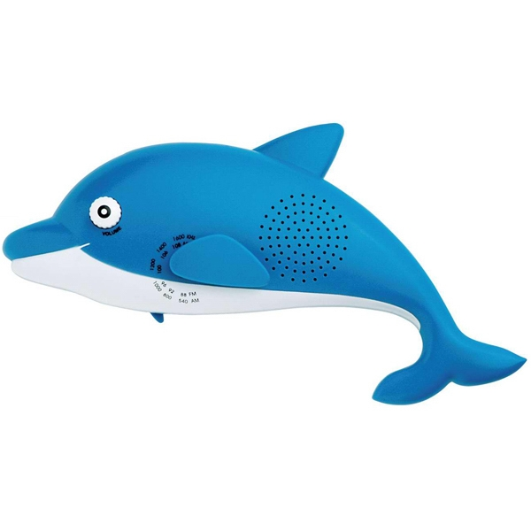 Dolphin Shaped Am/fm Shower/desk Radio With Hook And Back Stand For Use On Desktop Photo