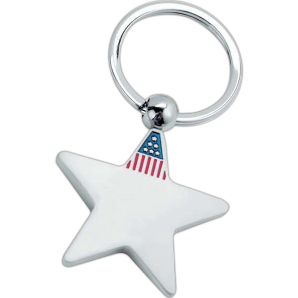 Metal Star Shaped Key Tag With U.s. Flag Design On The Top Point Photo