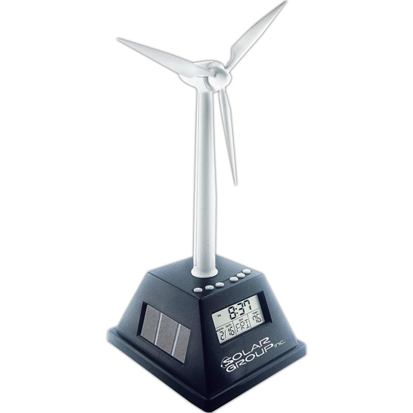 Solar Powered Turning Wind Turbine With Alarm Clock Photo