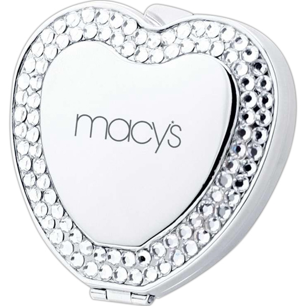 Heart Shape Compact Mirror With Crystal Jewels Photo