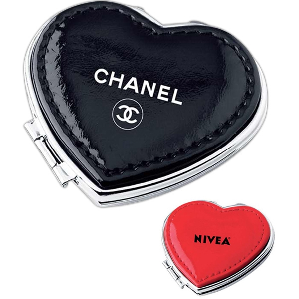 Heart Shaped Compact Mirror In Soft Pu Leather Photo