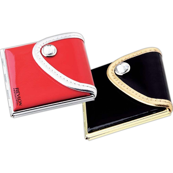 Purse Compact Mirror In Soft Pu Leather Photo