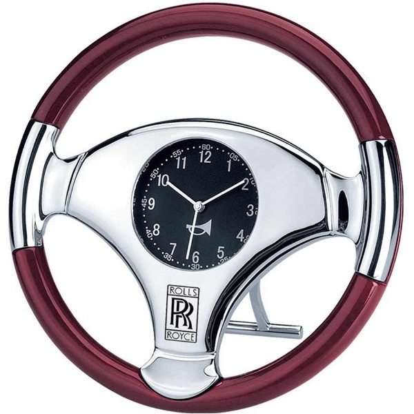 Large Desk/wall Steering Wheel Clock With High Gloss Wood Trim Photo