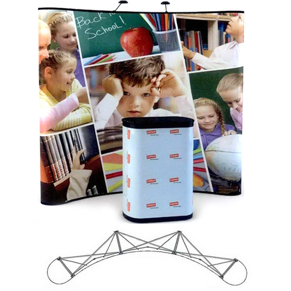 8' Curve all graphic kit - 8 ft. Pop up display with curved frame and 5 graphic panels.