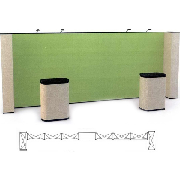 Straight / returns all fabric kit (20 ft) - Complete 20 ft. Straight Premium Fabric pop up display kit