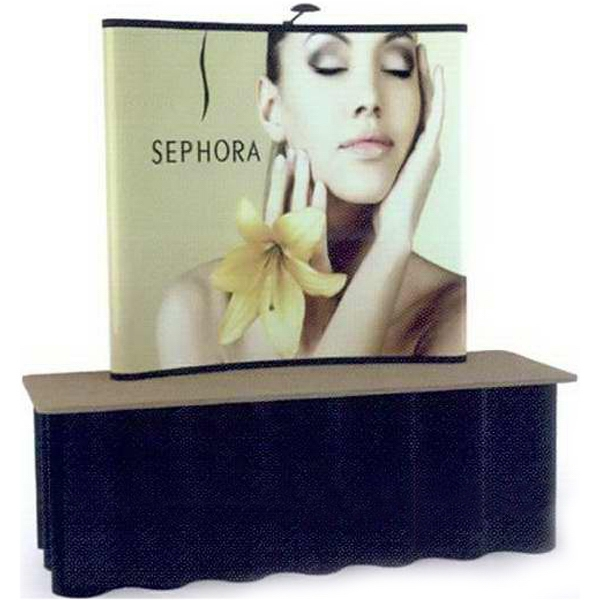 6 ft curve tabletop - Pop-up display with one 6 ft. tabletop frame and 4 graphic panels.