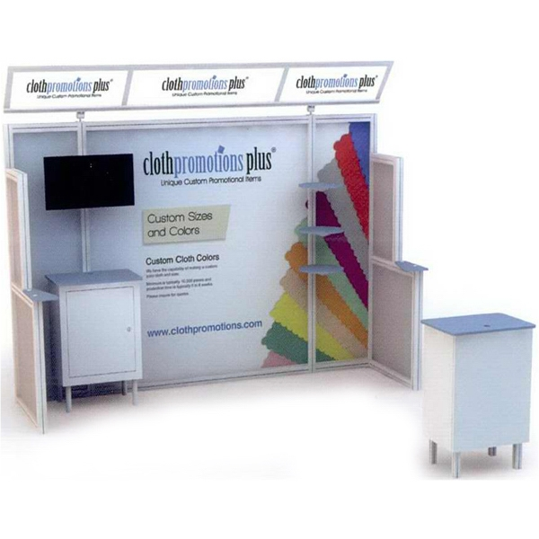Alumalite Lineare 10 ft - 10ft. modular display system with illuminated header.