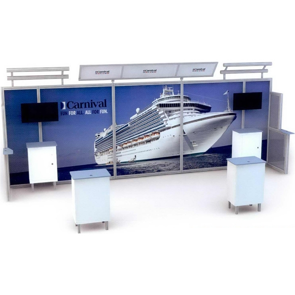 Alumalite Lineare 20 ft - 20 ft. modular display system with illuminated header.