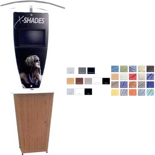 Alumalite Kiosk - Portable modular kiosk with fabric canopy and Aluminum frame.