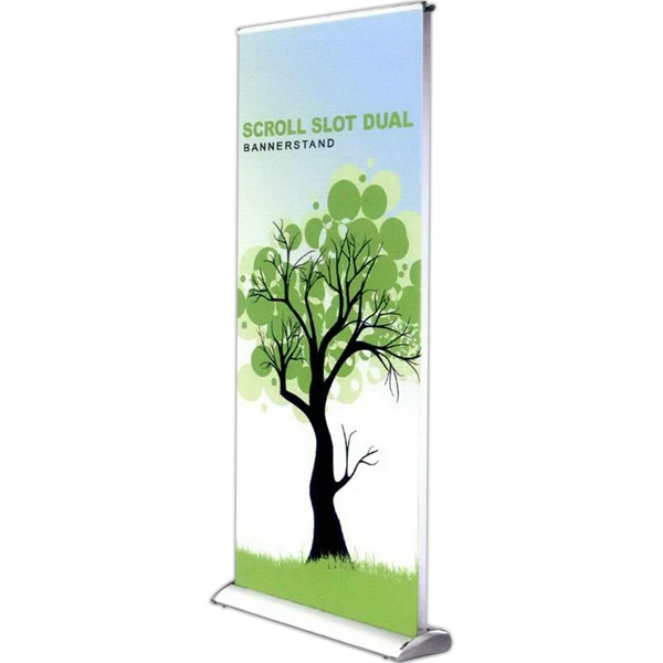 "Scroll Slot Dual 1000 - Scroll slot dual banner stand with satin graphics, 39.4"" x 85""."