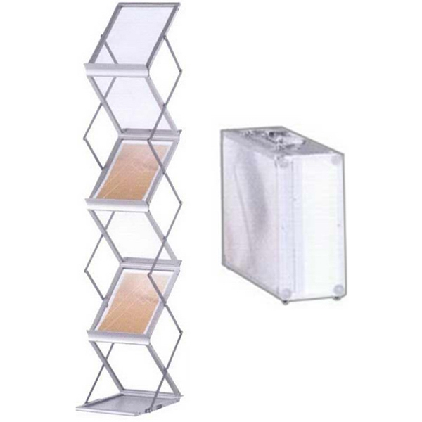 Stacy literature rack - Collapsible flat pack design steel and aluminum frame literature rack.