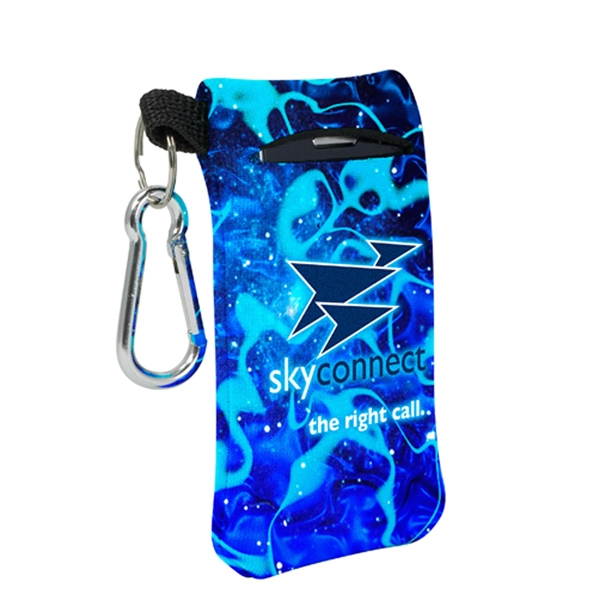 4 Color Process Small Mobile Accessory Holder With Key Ring Loop And Carabiner Clip Photo