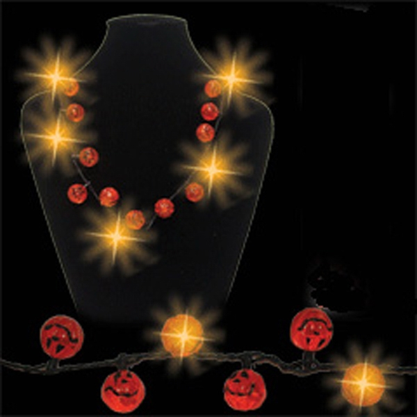 Light Up Pumpkin Necklace - Halloween