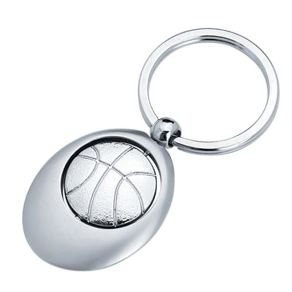Basketball - Sport Key Tag With Swivel Center Photo