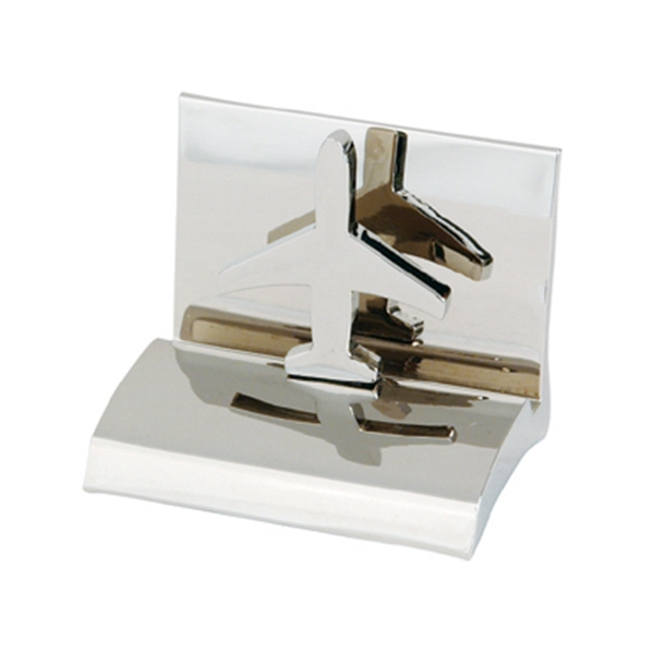 Airplane - Chrome Metal Business Card Holder Photo