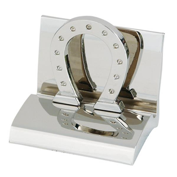 Chrome Metal Horseshoe Business Card Holder Photo