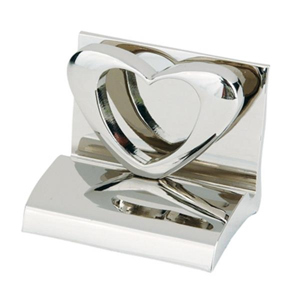 Chrome Metal Heart Business Card Holder Photo