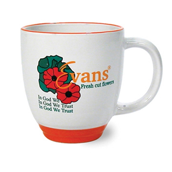 Heartland - White 13 Ounce Ceramic Mug With Orange Base And Rim Photo