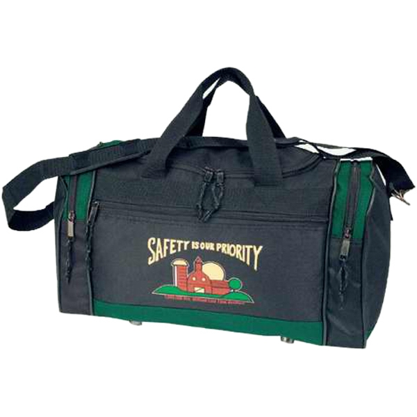 Embroidery - Two-tone Polyester Travel Duffel Bag With Carrying Handles Photo