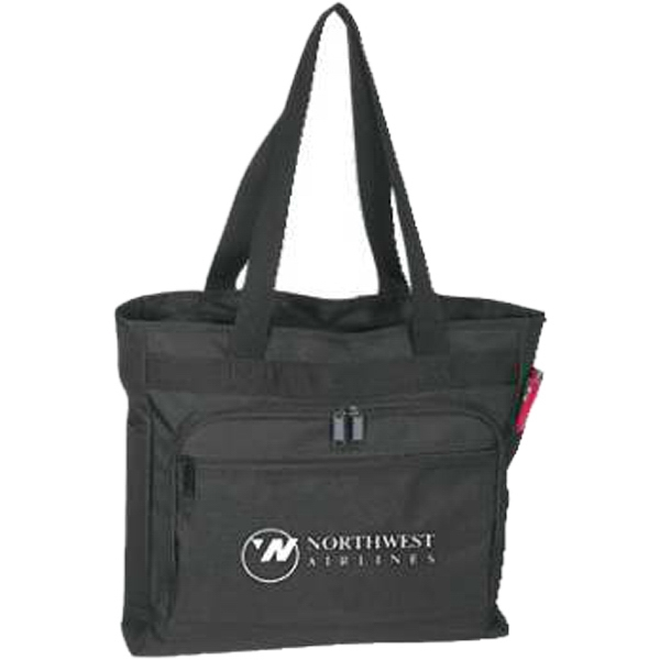Embroidery - Classic Travel Tote Bag Made Of Polyester Shell With Water Repellent Vinyl Backing Photo
