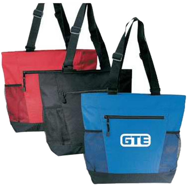 "Embroidery - Polyester Tote Bag With Mesh Pockets, Top Zipper Closure And 33"" Shoulder Straps Photo"