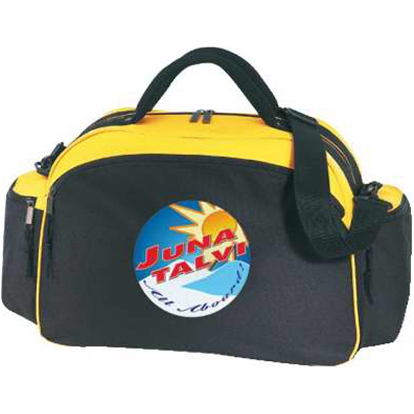 Silkscreen - Two-tone Polyester Duffel Bag With Shoulder Strap, Large Front And End Pockets Photo