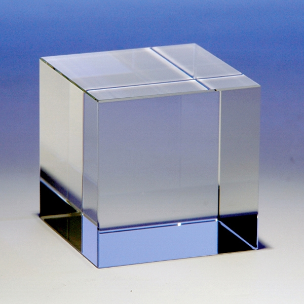Cube Shape Crystal Paperweight By Crystal World Photo
