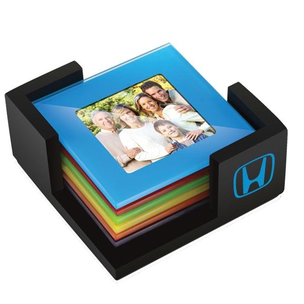 Multi colored photo coaster