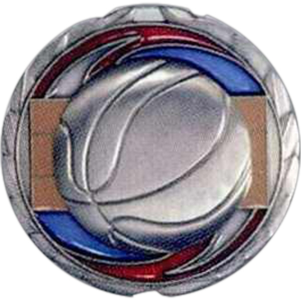 "Basketball - Stock 2 1/2"" Cem Medal With Tinted Epoxy Giving A Stained Glass Effect Photo"