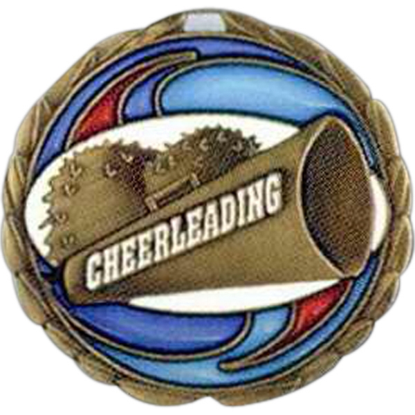 "Cheerleading - Stock 2 1/2"" Cem Medal With Tinted Epoxy Giving A Stained Glass Effect Photo"
