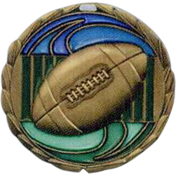 "Football - Stock 2 1/2"" Cem Medal With Tinted Epoxy Giving A Stained Glass Effect Photo"
