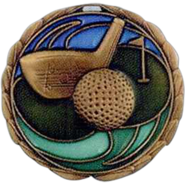 "Golf - Stock 2 1/2"" Cem Medal With Tinted Epoxy Giving A Stained Glass Effect Photo"
