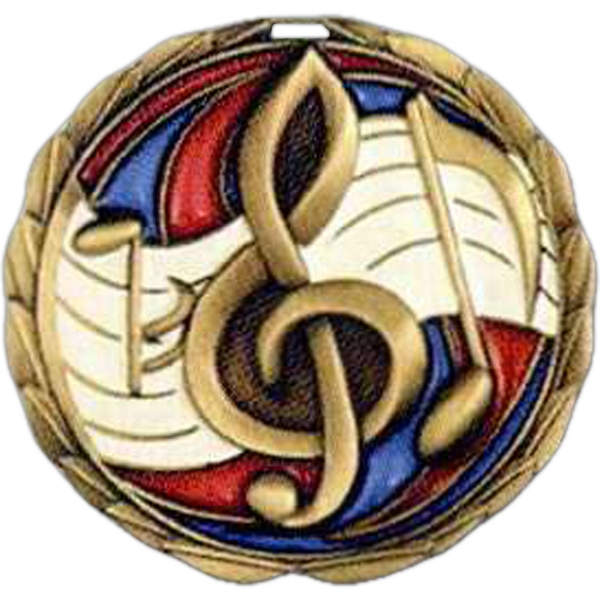 "Music - Stock 2 1/2"" Cem Medal With Tinted Epoxy Giving A Stained Glass Effect Photo"