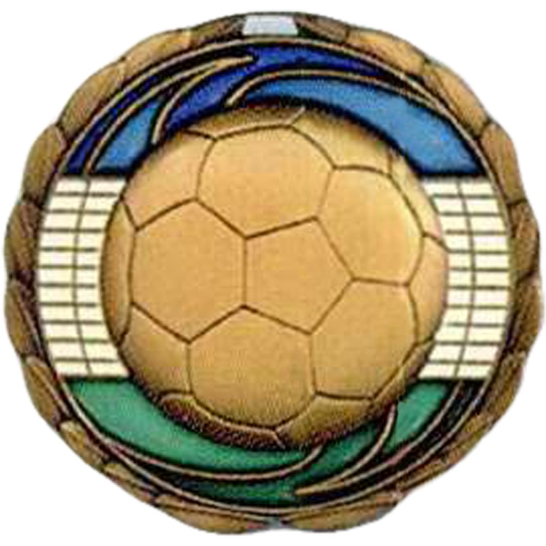 "Soccer - Stock 2 1/2"" Cem Medal With Tinted Epoxy Giving A Stained Glass Effect Photo"