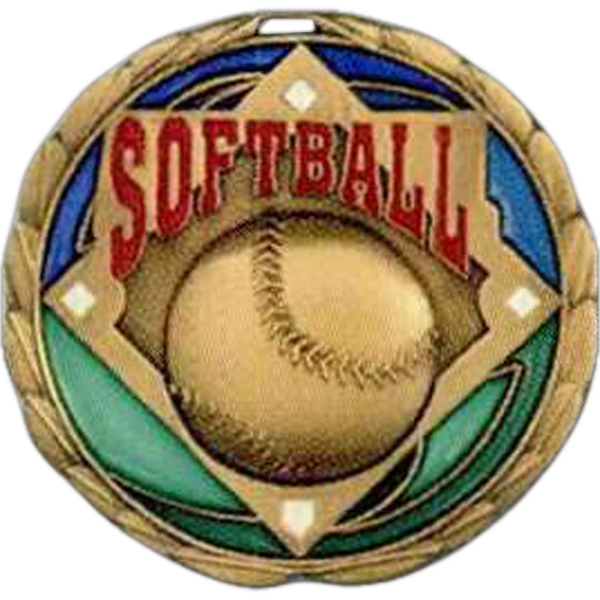 "Softball - Stock 2 1/2"" Cem Medal With Tinted Epoxy Giving A Stained Glass Effect Photo"