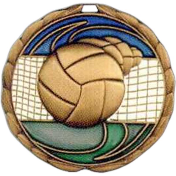 "Volleyball - Stock 2 1/2"" Cem Medal With Tinted Epoxy Giving A Stained Glass Effect Photo"
